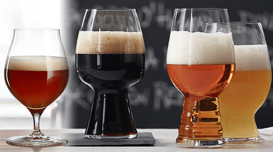 Different types of glasses for different styles and colors of beers.