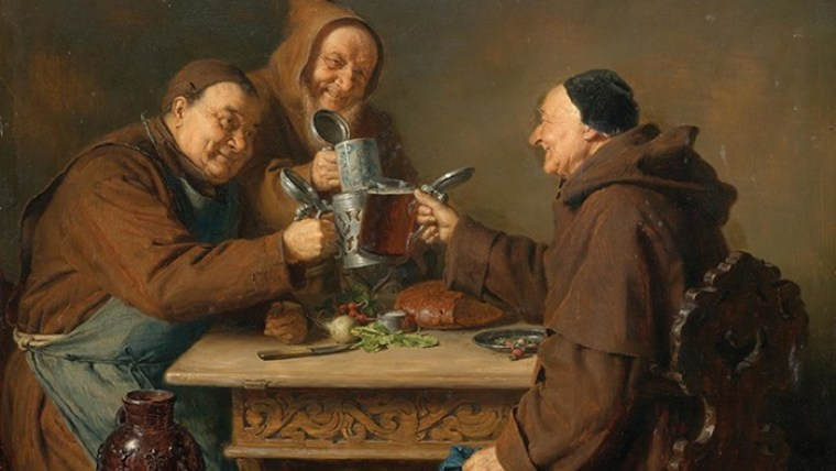 A paiting of three monks enjoying beer around a table during the Middle Ages.