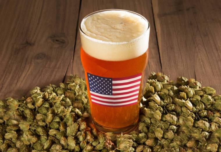 A glass of IPA beer with an American flag on it standing on a mound of dry hops.