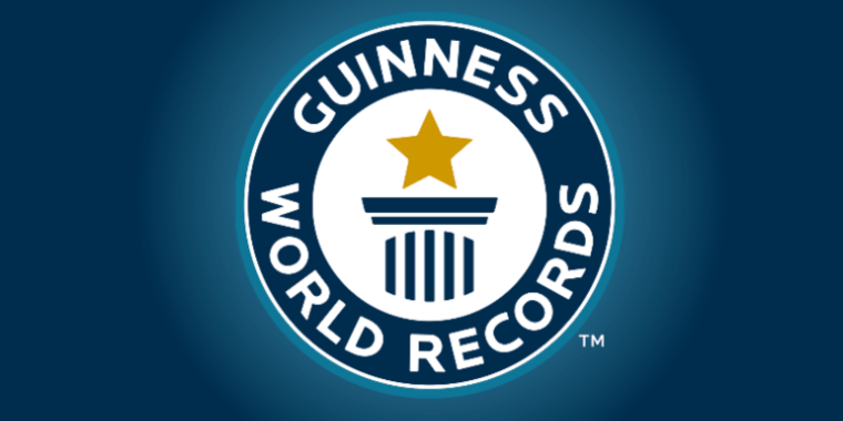 The logo of the Guinness Book of World Records on a blue background.