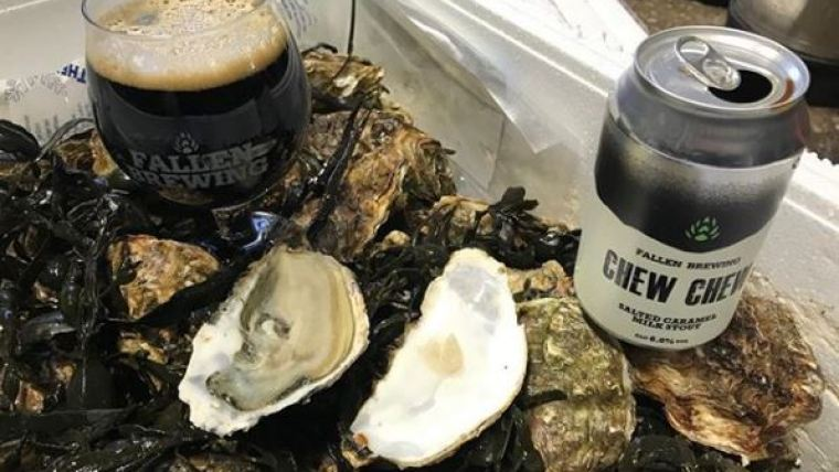 A can and a glass of oyster stout beer placed in a tray with fresh oysters.