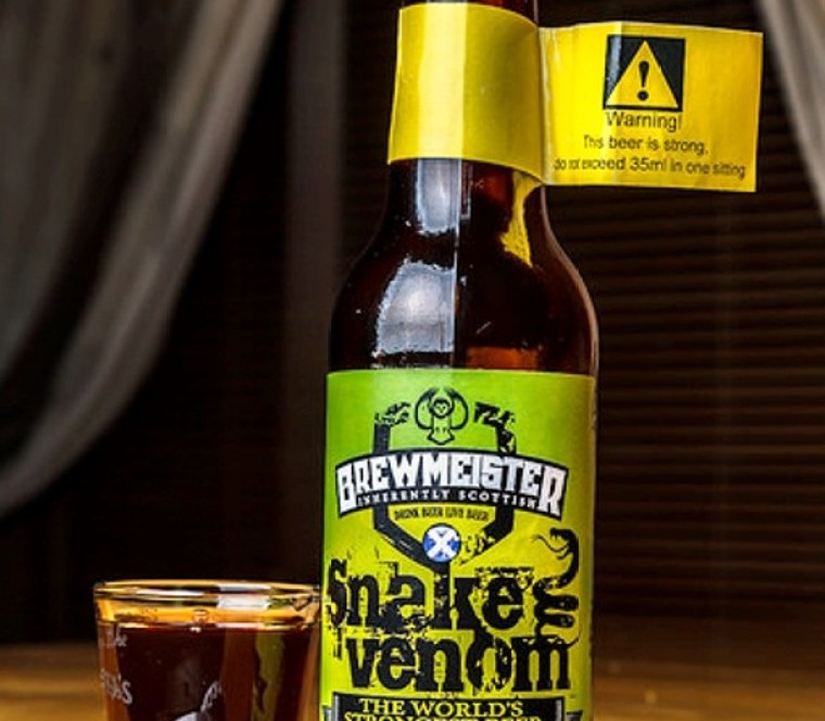 A bottle and a glass of snake Venom the strongest beer in the world.