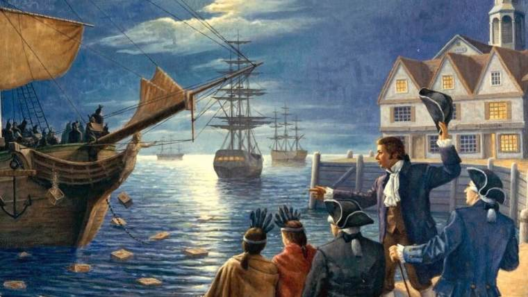 A painting potraying the Boston Tea Party