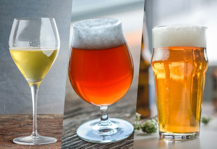A glass of wine, a glass of mead and a glass of beer.