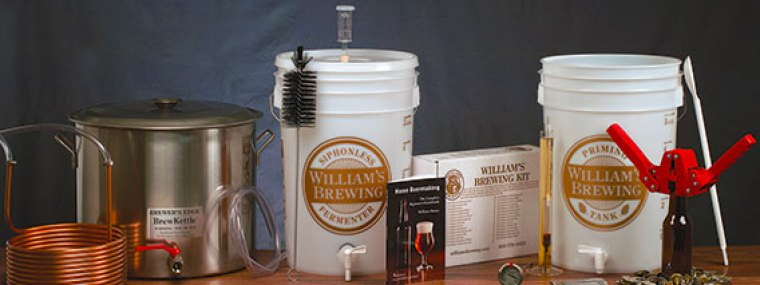 Various homebrewing equipment including fermentation buckets and a wort chiller.