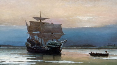 A painting depicting the Mayflower ship and a smaller boat with passengers.