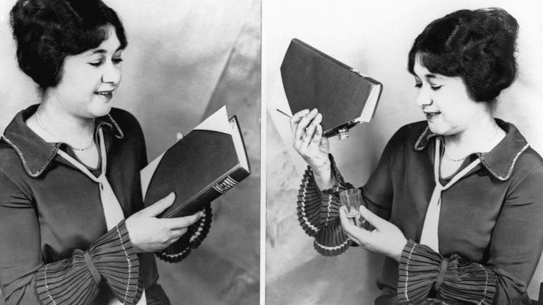 Photo of a women hiding alcohol in a book flask.