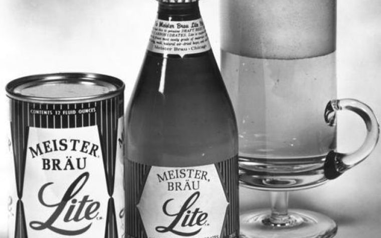 An old photograph of a can, bottle and a glass of Meister Brau Lite beer.