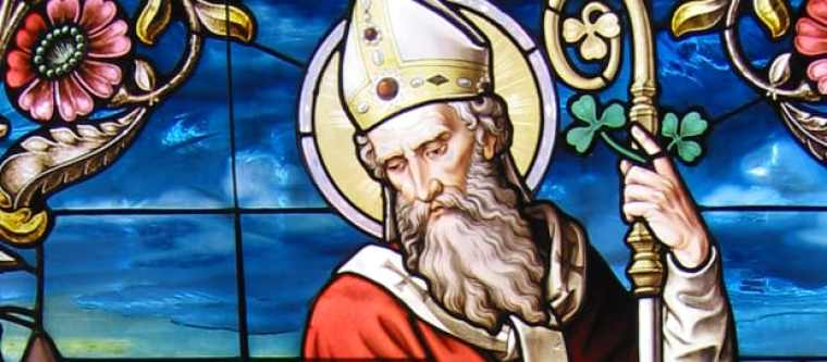 A painted image of St. Patrick.