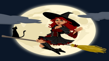 A cartoon image of a witch sitting on a broom wearing a pointed hat and have a black cat in the moonlight.