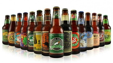 Bottles of most popular craft beers in the US.