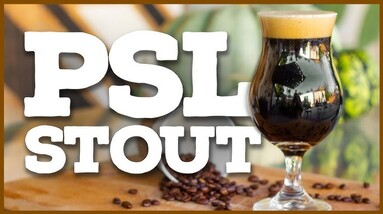 A glass of pumpkin spice latter stout with loose coffee beans.