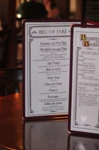 Brewery Becker_inside of menu image