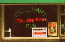 Neon sign in the window at O'Sullivan's Italian Pub