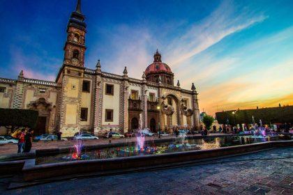 A shot of Queretaro, Mexico at dusk