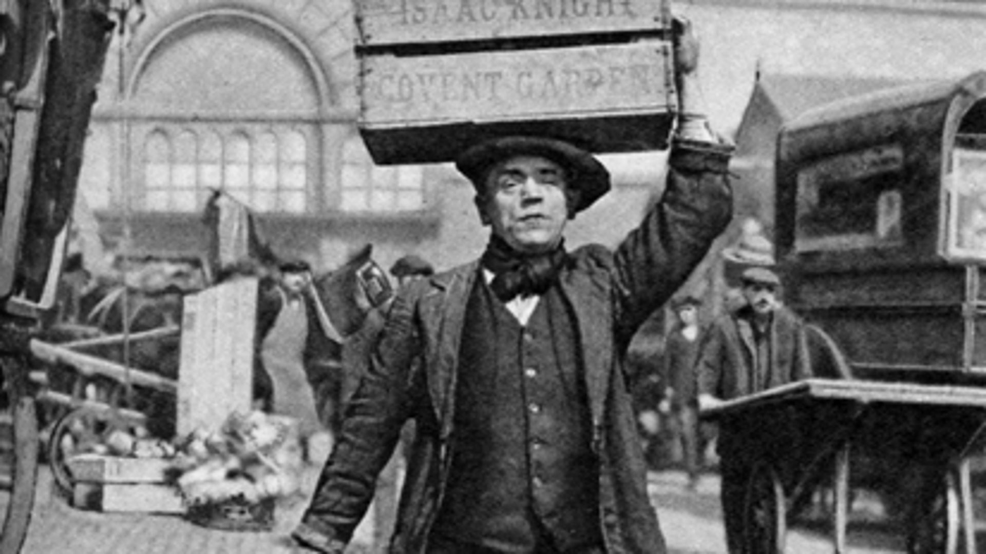 A London porter carrying a basket on his head.