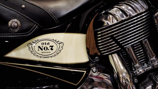A motocycle with the jack Daniels logo.