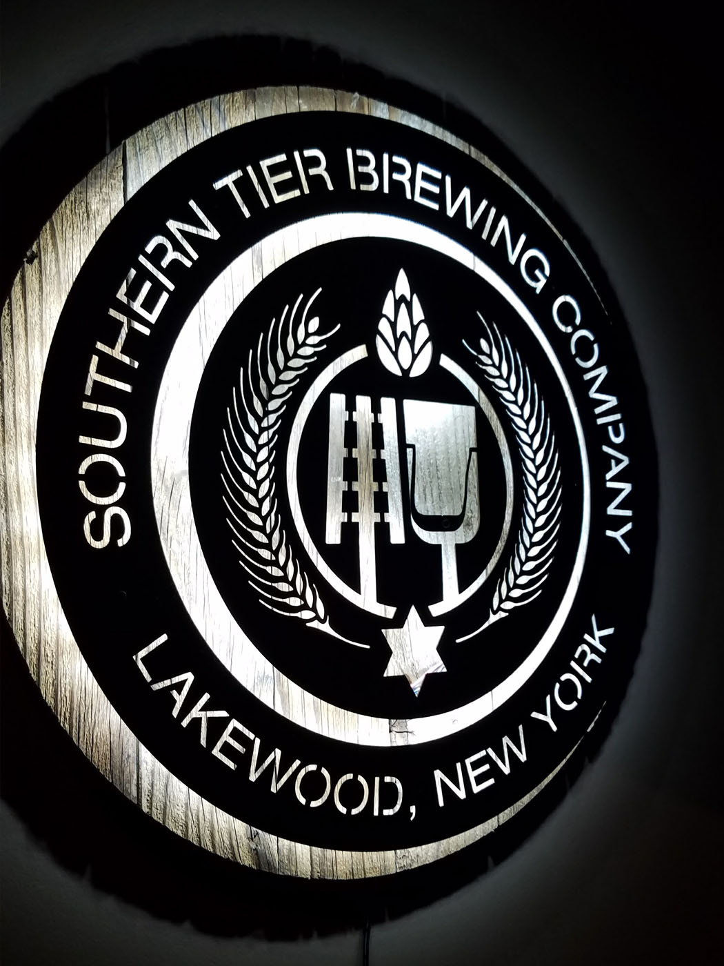 An illuminated sign at Southern Tier brewery in Lakewood, New York