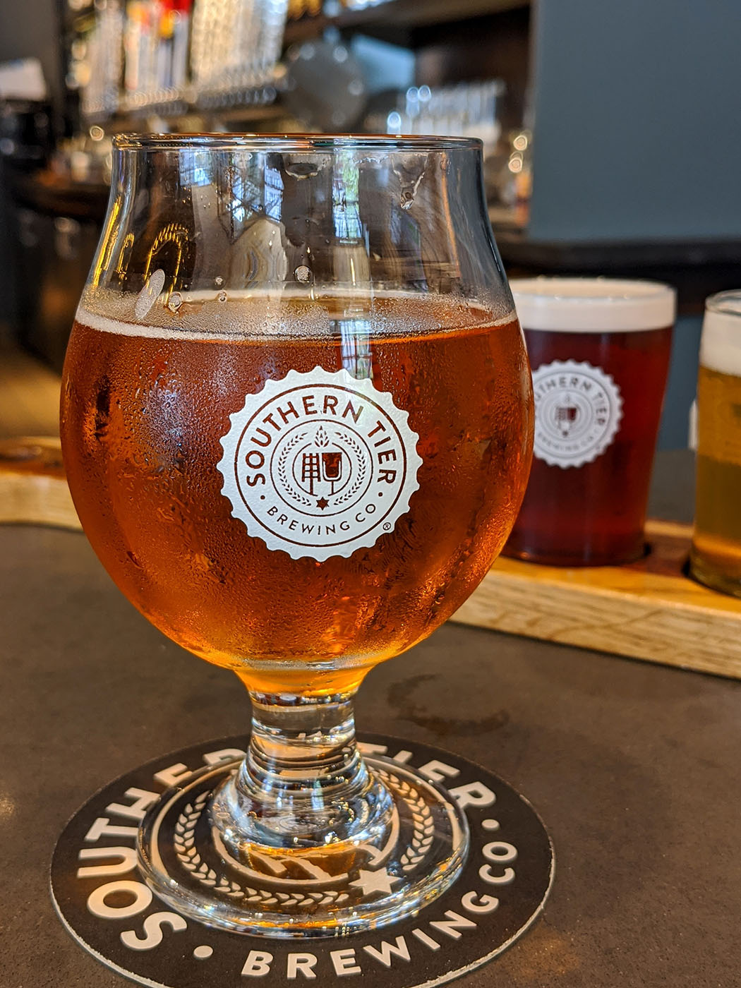 A glass of Southern Tier's Pumking Imperial Ale
