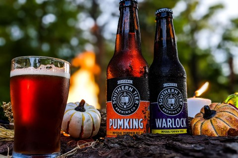 A Pumking Imperial Ale and a Warlock Stout by a campfire.