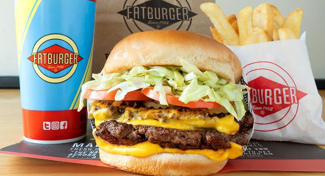 A burger and fries from Fatburger