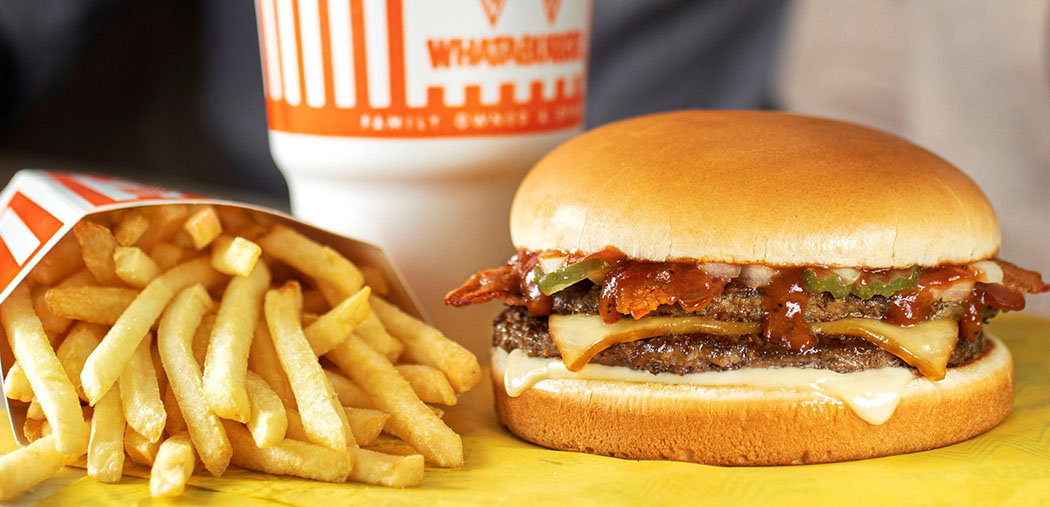 Burger fries and drink from Whataburger