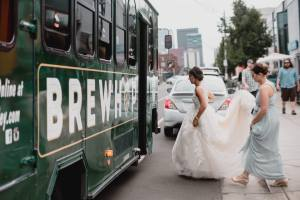 wedding transportation, wedding trolley, colorado weddings