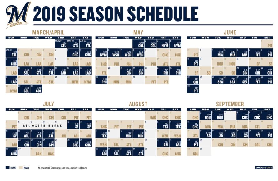2019 brewers schedule