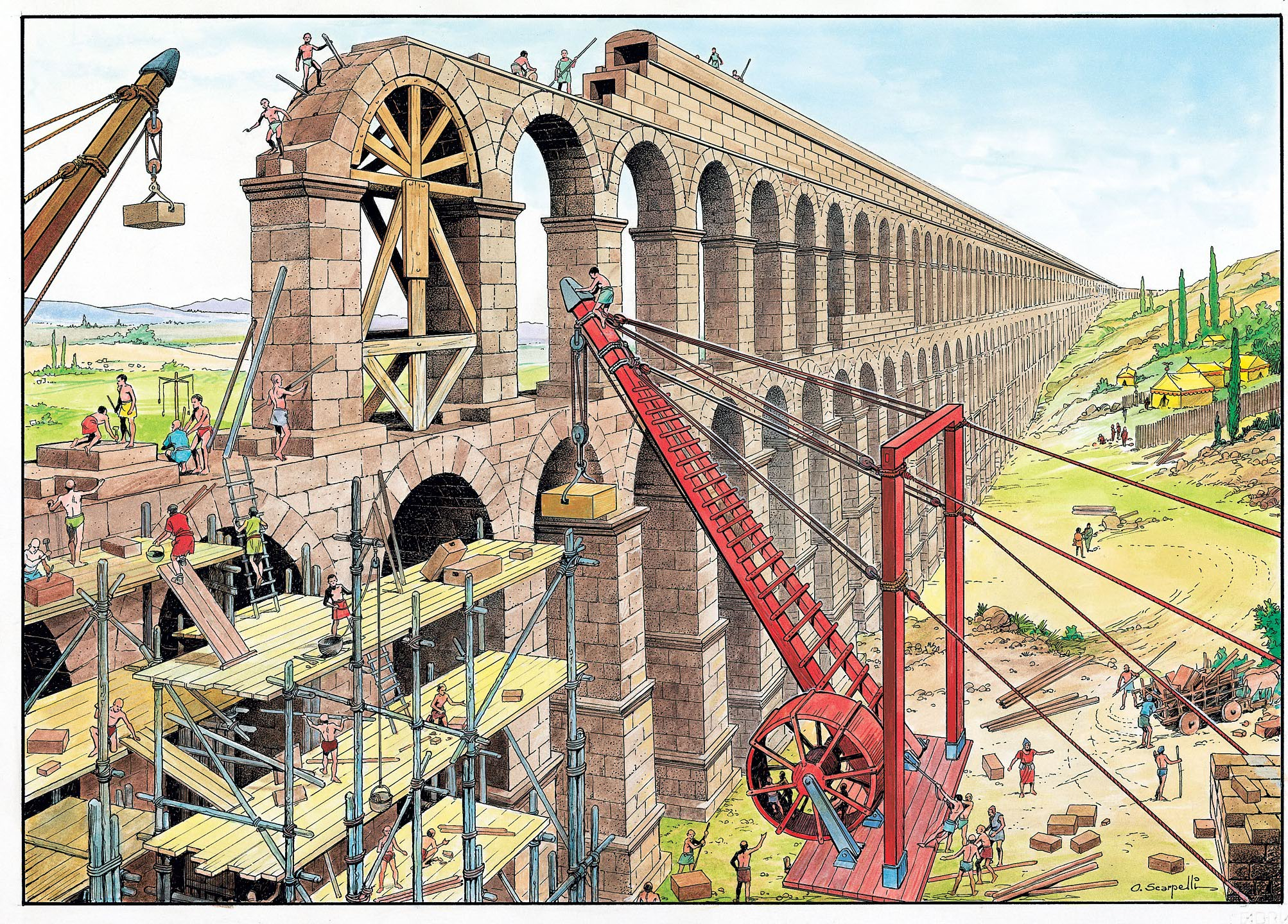 Modern Roman Construction And Ancient Roman Ruins