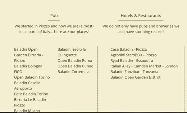 Liste des bars brasserie baladin