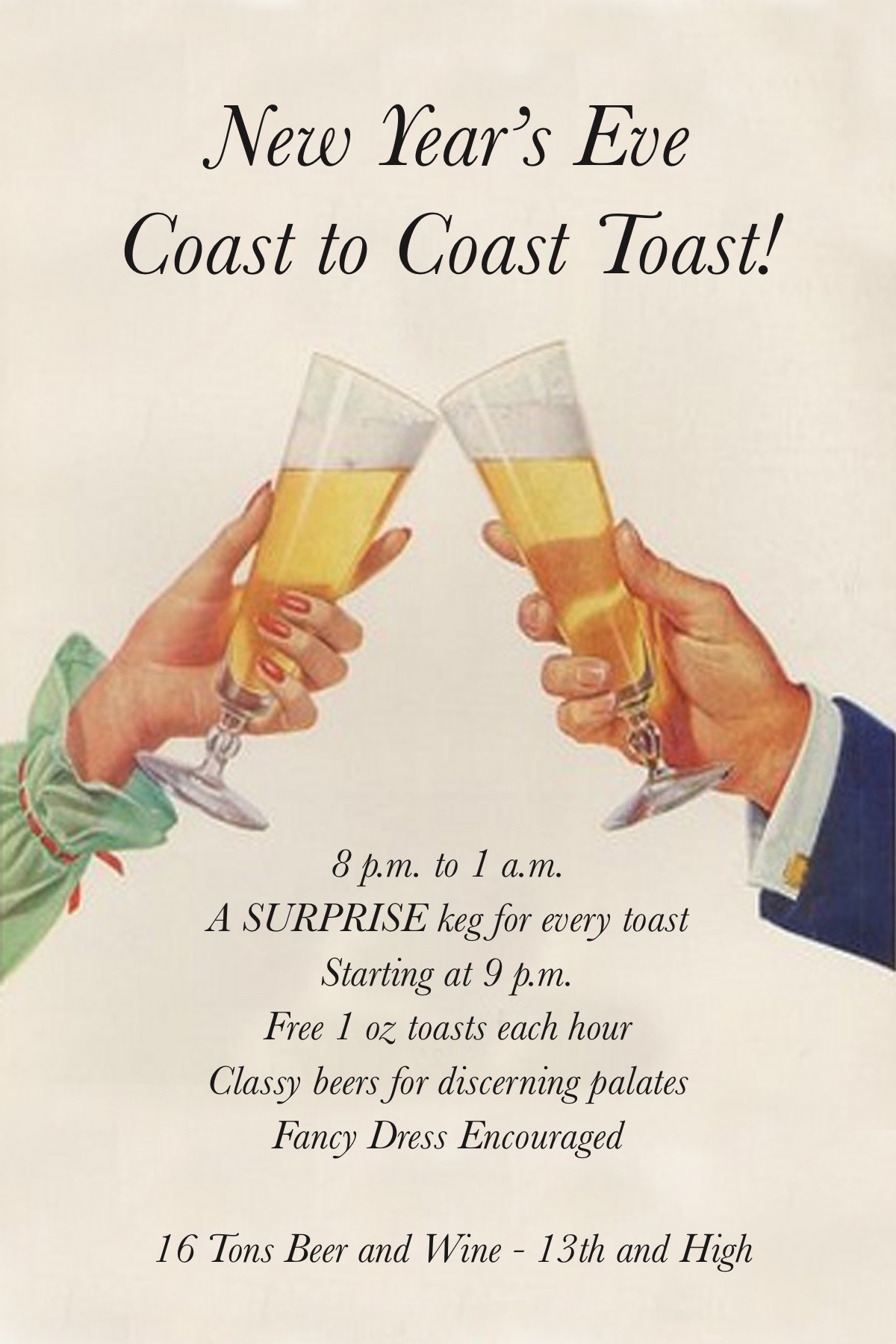 16 Tons Hosts New Year S Eve Coast To Coast Toast