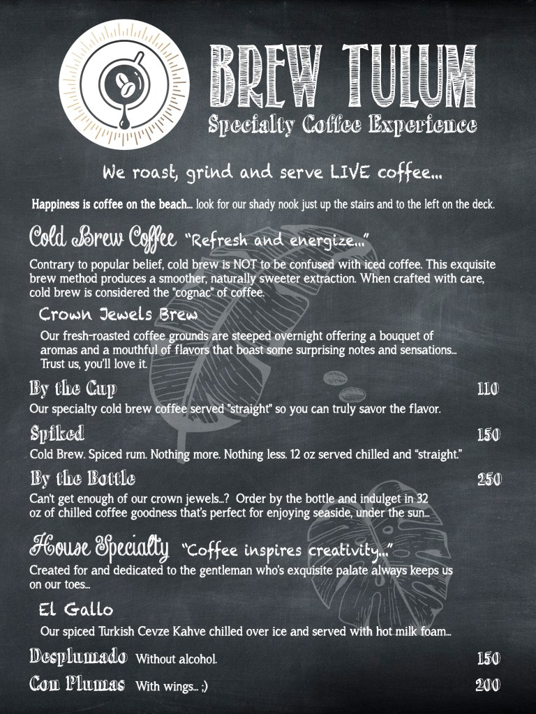 Brew Tulum Cold Brew Menu Coffee