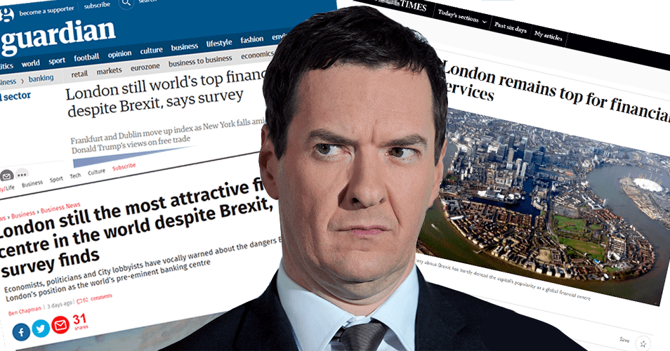 Standard error? Osborne forgets to notice London extending its lead as world's top financial centre