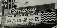 A close-up of the Conway Theater's marquee in 1961.