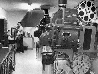 "Inside the projection booth at Cinema 150. The first film shown at the 150 was ""The Odd Couple."" The final film, shown in May 2003, was ""X2: X-Men United."""