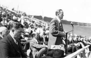 From 1938-1941, Razorback Stadium went by Bailey Stadium. It was christened after then-Gov. Carl Edward Bailey, the dark-haired fellow in the left corner of the photo. This photo is from the stadium's dedication.
