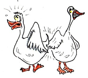 Nine geese a'goosing