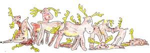 Twelve leaky inflatable reindeer