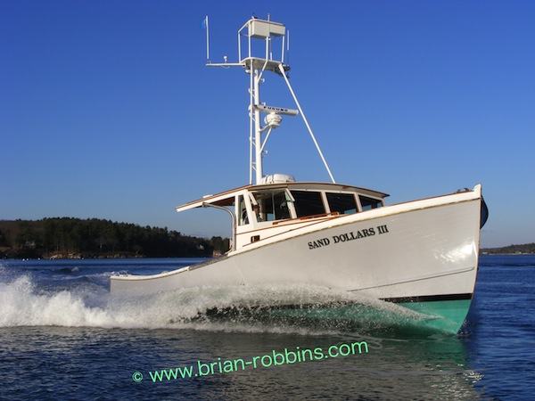"John's Bay Boat Co. in South Bristol, ME launched the wooden 41'x14'8"" Sand Dollars III in 2008."