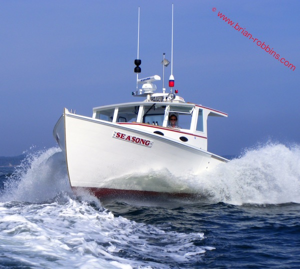 Buxton Boats of Stonington, ME launched the wooden 38'x13' Seasong</em. for lobsterman Frank Gotwals in 2013.