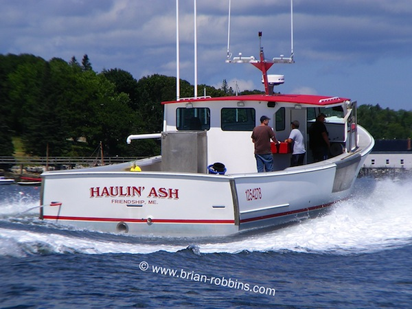 "Haulin' Ash, the first of the new ""Super 46"" Wesmacs to hit the water. Finished by Lash Brothers Boat Yard of Friendship, ME for lobsterman Jacob Lee. (2014)"