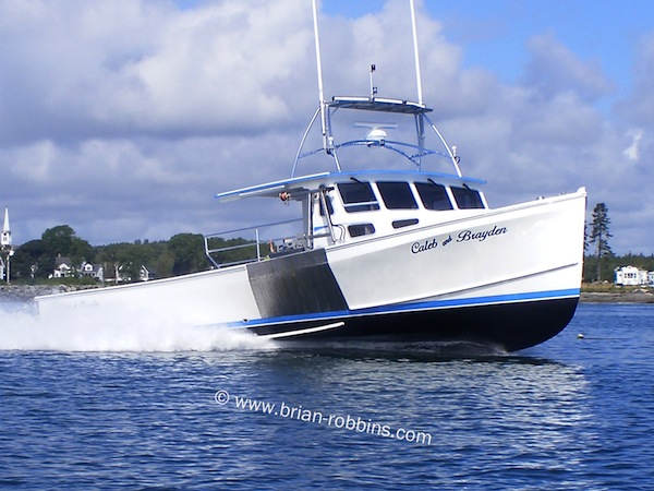 "Taylored Boats of Addison, ME finished the 46' Wayne Beal ""Caleb & Brayden"" for Jonesport lobsterman Ryan Geel. (2014)"