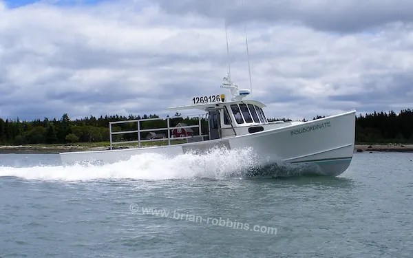 "Insubordinate is an Osmond 40, owned by Roger & Jessica Redimarker - a lobstering couple from Addison, ME.  H&H Marine Inc. built Insubordinate's 40'x14'10"" hull and top; Roger and his brother Jeff did the finish work.  (2016)"