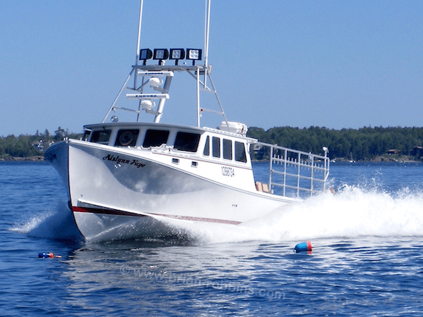 "Stonington, ME lobsterman Ben Hardy's Aislynn Faye is a Wesmac 46.  Clark Island Boat Works of St. George, ME did the custom finish, starting with a 46'x14'6"" hull built by Wesmac Custom Boats in Surry.  (2016)"