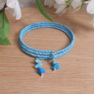 Bracelet Turquoise Gemstone Dangle Glass Bead Adjustable Memory Wire
