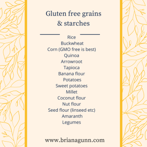 Gluten free grains and starches