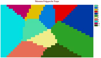 Theissen Polygons drawn about each of the trap sites