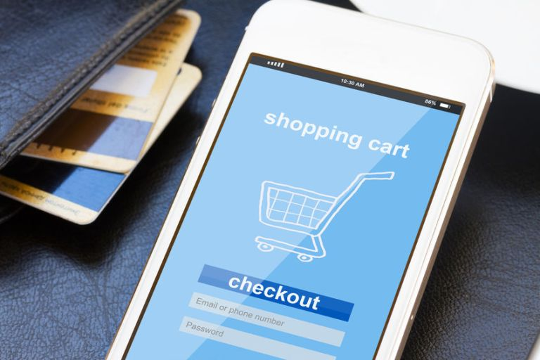 mobile phone with shopping cart