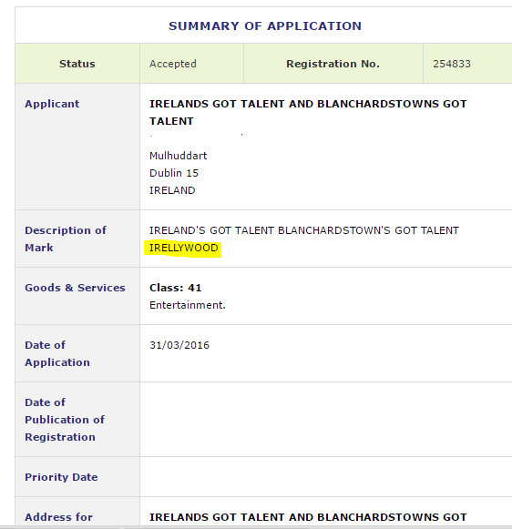 Irellywood Ireland Trademark Application