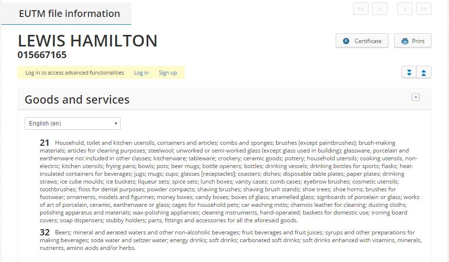 Lewis Hamilton Trademark Application
